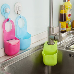 Wholesale Modern Kitchen Gadgets - Creative Folding Hanging Silicone Bathroom kitchen Gadget storage Box Silicone Storage Bag Hot storage box organizer free shipping TY1075
