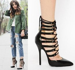 Wholesale Celebs Dresses Red - Celeb style sexy red black cross strap hollow out shoes 2015 designer shoes sexy high heels summer gladiator sandal size 35 to 40