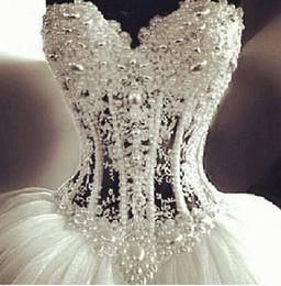 Wholesale Sparkled Top Dress - Glamorous Sparkle Bridal Gowns Beading Crystal Top Bodice Sheer Pearls Puffy Wedding Bridal Dresses vestidos de novia Wedding Dresses