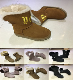 Wholesale Girls Pink High Heel Shoes - 2018 New Women WGG Australia Classic high quality Boots girl triple black Navy blue chocolate boots Snow Winter boots outdoor shoes eur36-40