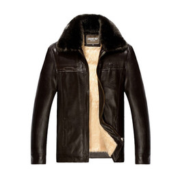 Wholesale Mens Leather Wash - Fall-2015 winter Faux fox Fur collar leather jacket men coat Casual mens jackets and coats motorcycle clothes mens washed PU leather