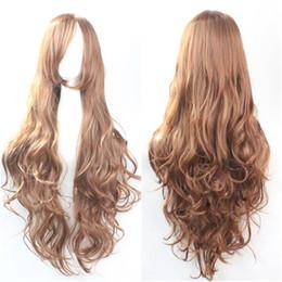Wholesale Wigs Volume - 10 color Hair Fashion Anime Wigs Air Volume High Temperature Soft Hair Silk Bulk Hair Long Curly Big Wave Hair Wig Cosplay 80cm