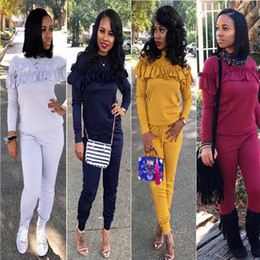 Wholesale Lady Blouses Piece - Women Two Piece sweatsuits outfits Long Sleeved Tops Blouse Shirt Sweatshirts with Long Pants Sets Ladies Casual Solid Color Suits