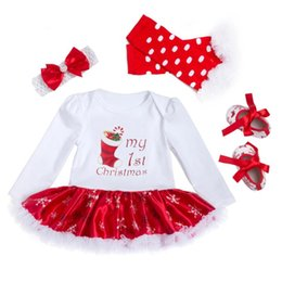 Wholesale Snowflake Clothing Baby - Christmas Baby Clothes Snowflake Long Sleeve Newborn Romper Dress Baby Girls Clothes 4pcs Set 2018 New Year Infant Clothing