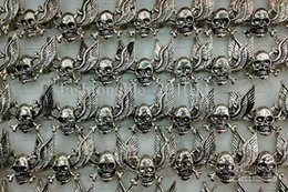 Wholesale Z Wing - Gothic Fly-wing Skull Carved Biker Alloy Rings Adjustable Size New Jewelry 50pcs lot free shipping R508 Z