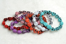 Wholesale Multicolor Turquoise Skull Strand Bracelets - free shipping skull bracelet Turquoise Skull Strand Multicolor Bracelet Stretch bracelet Nice bracelets wholesales 50pcs lots