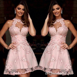 Wholesale Sky Blue Semi Formal Dresses - Semi Formal Cocktail Dresses 2018 New Illusion High Neck Blush Pink Lace Homecoming Dresses Sheer Neck Short Prom Party Gowns Sleeveless 436