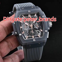 Wholesale Gem Time Watch - New style fashion big bang unico full transparent grey case rubber strap men quartz brand watches quartz time running seconds calendar watch