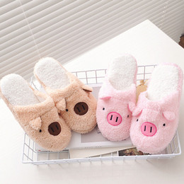 Wholesale Female Pig - Wholesale- New Arrival Cute Pig Home Floor Soft Stripe Slippers Female Comfortable Cotton-padded Warm Slippers Shoes Free Shipping