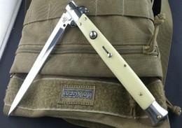 "Wholesale Fiberglass Knives - AKC knife 13"" Ivory white (fiberglass handle) 440C steel SideOpen Folding Utility outdoor gear knife tactical hiking knives B672L"