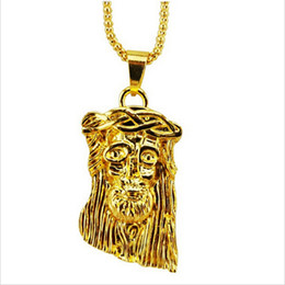 Wholesale Brass Jesus - Hot gold filled jesus pendant necklace for men women hip hop jewelry gold chunky chain long necklace