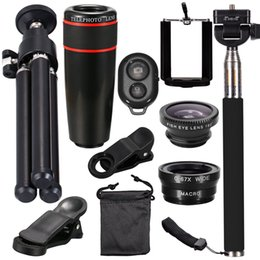 Wholesale New Angle - New 10 in 1 HD 12X 8X Optical Zoom Telephoto Telescope Set Wide Angle Macro Phone Lens With Tripod Magnification Lenses