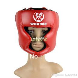 Wholesale Training Face - New Boxing Helmet Headgear Head Guard Training Helmets Kick head protection face guard Gear Red TK0785