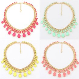Wholesale Drop Gem Bib - Fashion Tear Drop Fluorescent Color Jewelery Gem Crystal Statement Bib Necklace HOT