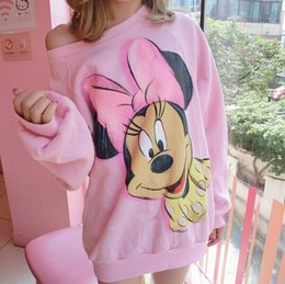 Wholesale Minnie Sweatshirts - Wholesale-2015 New Fashion Women Sweatshirt O-Neck Long Sleeve Mickey Minnie Mouse Printed Sweatshirt Fleece Pullover Pink Hoodies