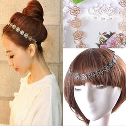Wholesale Cheap Wedding Headwear - 2016 Cheap Fashion Metallic Lady Hollow Rose Flower Elastic Hair Headbands Gold Headpieces Headwear Accessories Women Wedding Accessories