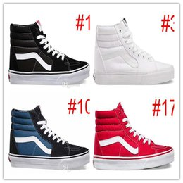 Wholesale Cheap Hi Tops - Discount Cheap High Tops SK8-Hi Canvas Shoes Classic White Black Red For Women And Mens Skateboarding Sneakers Casual Shoes size 36-44