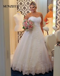 Wholesale Sexy Hochzeitskleid - Plus Size A-Line Wedding Dresses Sweetheart Lace Appliques with Beaded Sequins Bride Dresses Modern Wedding Gowns hochzeitskleid