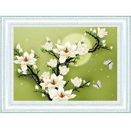Wholesale Counted Cross - Hot Sale Counted Cross Stitch Set DIY Handmade Needlework Embroidery Kit 3D Precise Printed Magnolia Flower Butterfly Design fre