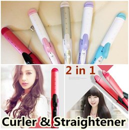 Wholesale Ceramic Coated Curling Iron - Hot Electric Hair Straightener Curling Irons Wand Straightening Flat Iron Styling Tool Hairstyles Products Free DHL Shipping