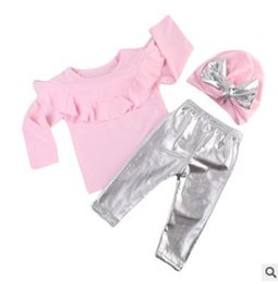 Wholesale Big Bottoms Girl - INS Children princess outfits Baby girls falbala lace pink T-shirt+silver bottoming pants+big bows hats 3pcs sets Kids clothing C2463
