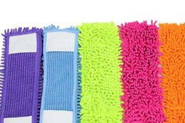 Wholesale Wholesale Microfiber Mop Head - Replacement Floor Microfiber Chenille Cleaning Mop Head Rectangle 4 colour blue mops floor cleaning Free Shipping