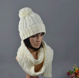 Wholesale Scraves Women - Wholesale-2015 Ladies Women Knitted Scarf And Hat Suite Set Winter Girl Knitting Scraves Cap warm (No gloves) Free shipping