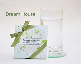 Wholesale Green Bamboo Leaves - Wholesale Lots 20pcs Square Green Leaves Glass Coaster cup mats pads+gift box ribbon wedding favors baby shower wedding gift