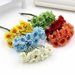 Wholesale Mini Silk Sunflowers - 120pcs Silk sunflower Handmake Artificial Scrapbooking mini Flower Bouquet Wedding Decoration DIY Wreath Craft Fake Flower