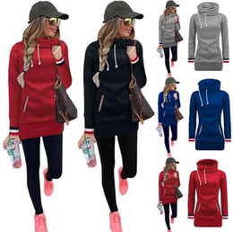 Wholesale Wholesale High Collar Hoodies - Women High Collar Hoodies Long Sleeve Sweater Tops Pullover Jumper Winter Lacing Outerwear Hooded Sweater Coat 10pcs OOA3415
