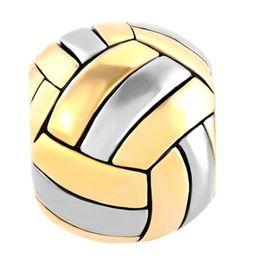 Wholesale Big Hole Gold Beads - 2 tone plated Volleyball Sports metal slider bead European Big hole charm fit Pandora charm bracelet