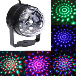 Wholesale Laser Party Ball - Mini RGB 3W Crystal Magic Ball Led Stage Lamp DJ KTV Disco Laser Light Party Lights Sound IR Remote Control Christmas Projector
