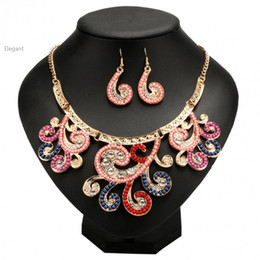 Wholesale New European Style Statement Necklace - 2015 New Fashional European Style Necklaces Pendants Alloy Necklace Earrings Set Statement Women Jewelry Accessories 57