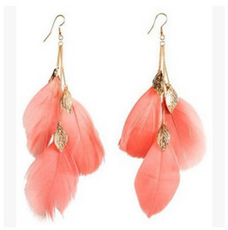 Wholesale Ring Gold Pair - Hot New 12 Pair A LOT Handmade Novelty Goose Feathers Charm Fashion Dangle Hook Earrings Ear Rings Ear drop Women Jewelry AC034