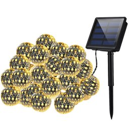 Wholesale Crystal Path - Wholesale- Solar Globe String Lights Outdoor 20 LED Warm White Crystal Ball Christmas Globe Lights For Garden Path, Party, Bedroom