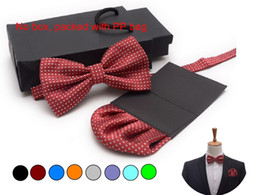 Wholesale Polka Dot Towel Set - Bow tie set insert pocket square handkerchief square towel handkie bowknot set black red wedding 13 colors