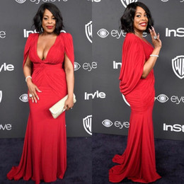 Wholesale Vintage Black Globe - Niecy Nash Plus Size Red Golden Globe Red Carpet Evening Gowns with Cape Mermaid Chiffon Deep V-Neck 2017 Women Formal Celebrity Dress Cheap