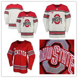 Wholesale Mens Hockey Jerseys - Mens custom NCAA Ohio State Buckeyes College Hockey Jerseys adults White Stithed Personal Ohio State Buckeyes Jersey size S-3XL