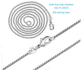 "Wholesale Silver Box Chain 2mm - 925 sterling silver box chain necklace lobster clasp 2MM 16""-24"" for men and women"
