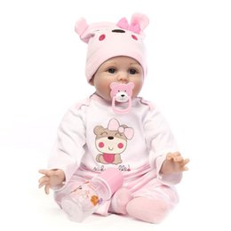 Wholesale Kid Girl Clothing Model - Lifelike Princess Girl Reborn Doll 22 Inch Realistic Silicone Real Touch Newborn Babies Toy With Clothes Kids Birthday Xmas Gift
