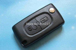 Wholesale Replacement Key Cases Remotes Peugeot - Car Key Shell Replacement 2 Buttons Flip Remote Key Case(With Groove) Blank Cover Fit For Peugeot 407
