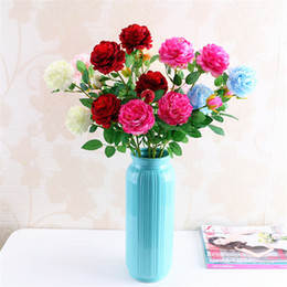 Wholesale Fake Garden Flowers - 7 Color Artificial Flowers Roses Peony Three Flower Heads Garden Wedding Party Decoration Simulation Fake Flower Head Christmas Gift