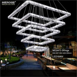 Wholesale Led Hallway Lighting For Office - Square Crystal LED Ceiling Light Fixture 5 Squares Crystal Stair Lighting for Hotel, Hallway, Villa for Living room Dining room
