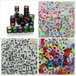 Wholesale Acrylic Plastic Pony Beads - 2015 new 500pcs styles Loom band 6*6mm Multi color With Black Alphabet Pony Beads Number Beads Cube Shape Beads For Loom Band Bracelet