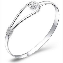Wholesale Crystal Flower Bangle Bracelets Wholesale - 925 Fashion Jewelry Crystal Rhinestone Love Bracelet Bangle Cuff Charm Women's Gift Brand New Good Quality