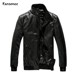 Wholesale Jacket Outerwear Overcoat For Man - Wholesale- Faroonee Stand Collar Faux Leather Jackets for Men Autumn Winter PU Motorcycle Jackets Slim Coat Overcoat Slim Zipper Outerwear