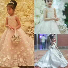 Wholesale Lace Kids Bridesmaid Dresses - Cute Spaghetti Handmade Flower Girls Dresses Bow Belt Bead Princess Kids Floor Length Bridesmaid Dress Girl Pageant Ball Gown