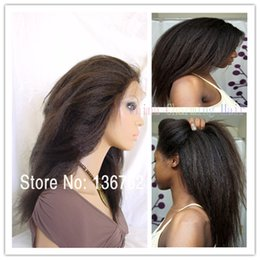 Wholesale Soft Elastic Hair Ties - Free Shipping Soft Kinky Straight Coarse Yaki Human Hair Lace Front Wigs And Full Lace Wig for black women