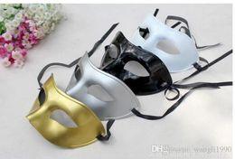 Wholesale Cheap Mardi Gras Masks - Cheap gold Venetian masquerade masks for Halloween masquerade balls Mardi Gras Prom Dancing Party half eye silver Masks for men and women