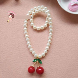 Wholesale Cherries Pendants - Children pearl nacklace girls rhinestones sweet cherry cubic pendant nacklaces children jewelry girls princess accessoires R1493